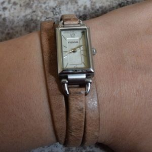 Leather wrap around fossil watch
